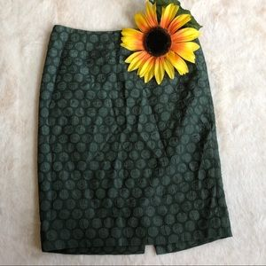 Anthropologie Maeve green polka dot pencil skirt